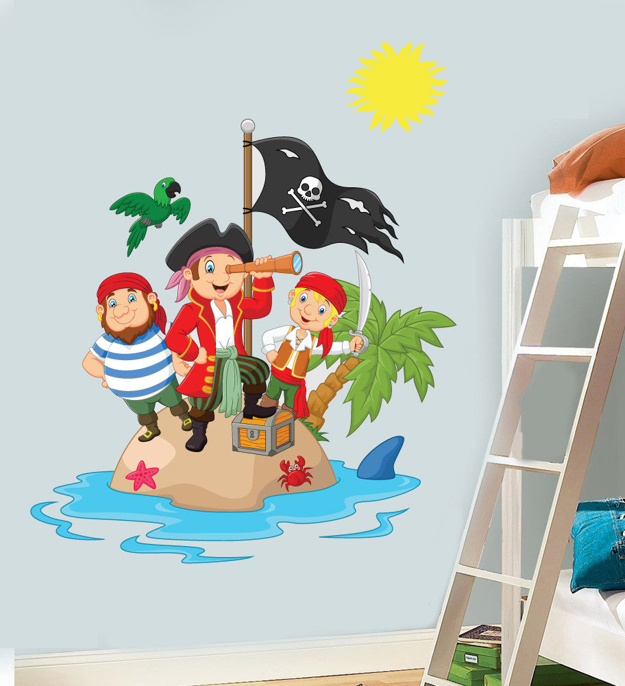 childrens pirate island wall art vinyl stickers boys girls