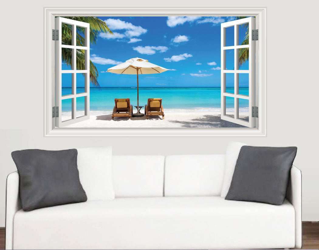 Beach Window Scene Wall Stickers   Living Room Kitchen Bedroom Decal Mural  Transfers