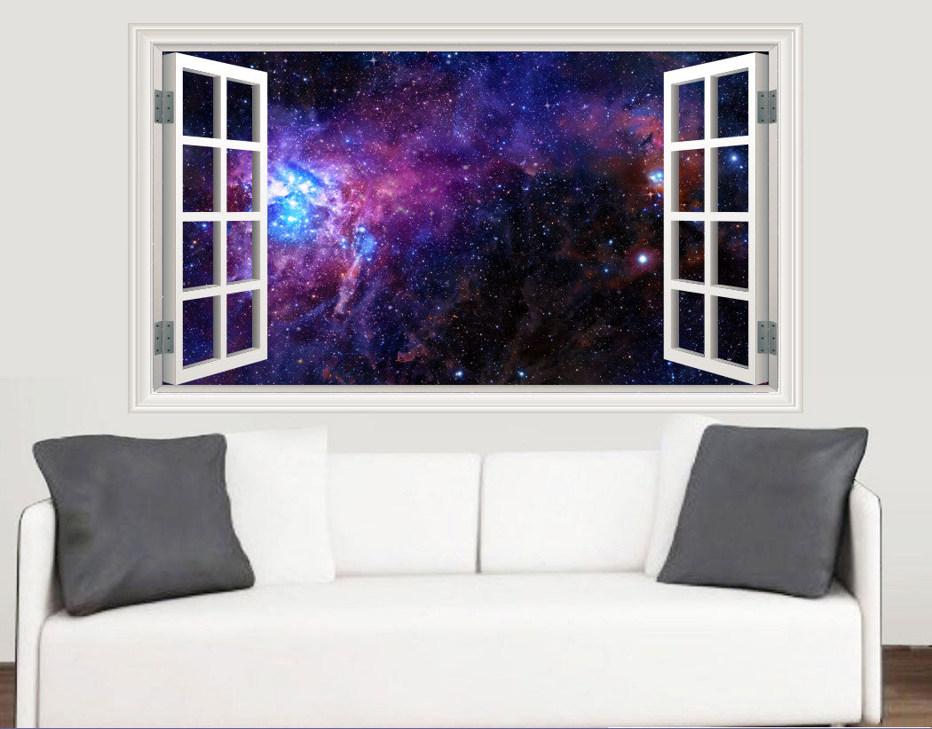 Outer Space Galaxy Nebula Window Scene Wall Stickers   Living Room Kitchen Bedroom  Decal Mural Transfers