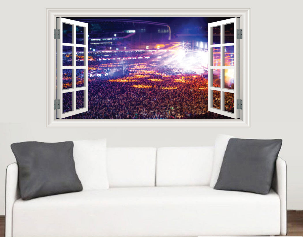 Concert window scene wall stickers living room kitchen for Concert wall mural