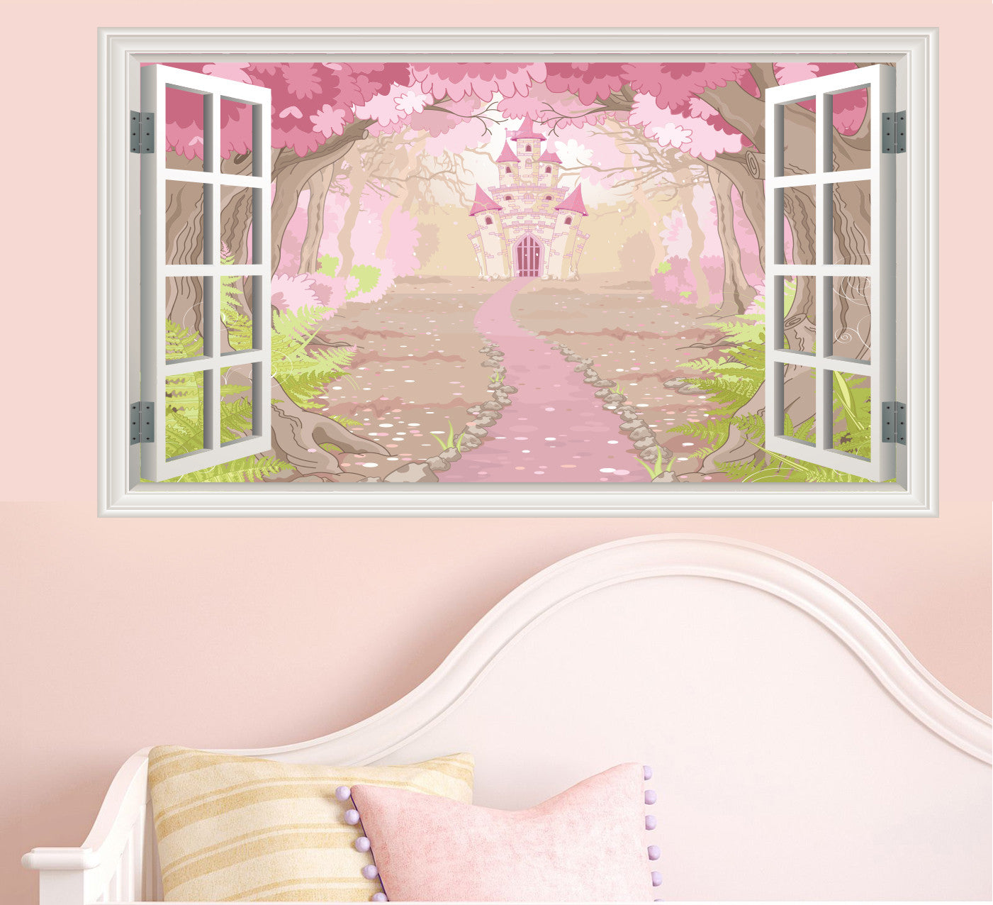 Enchanted Fairytale Castle Window Scene Wall Stickers   Childrens Bedroom  Decal Mural Transfers