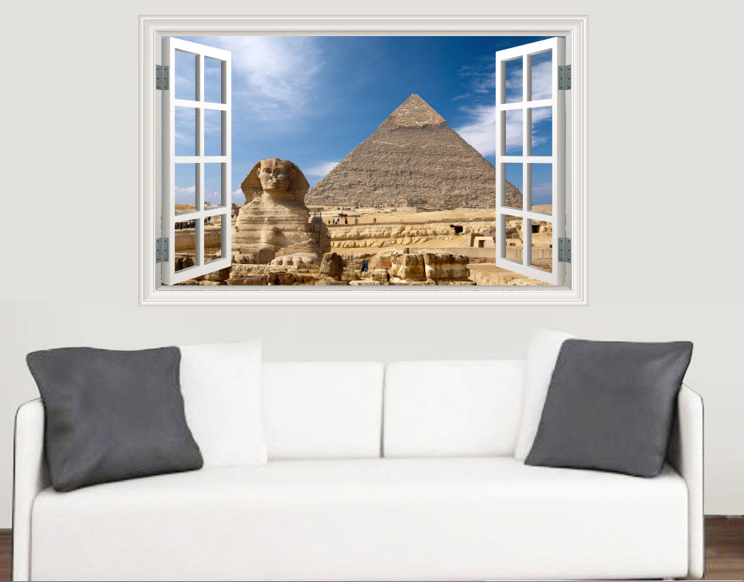 Egypt Pyramid Window Scene Wall Stickers - Living Room Kitchen ...