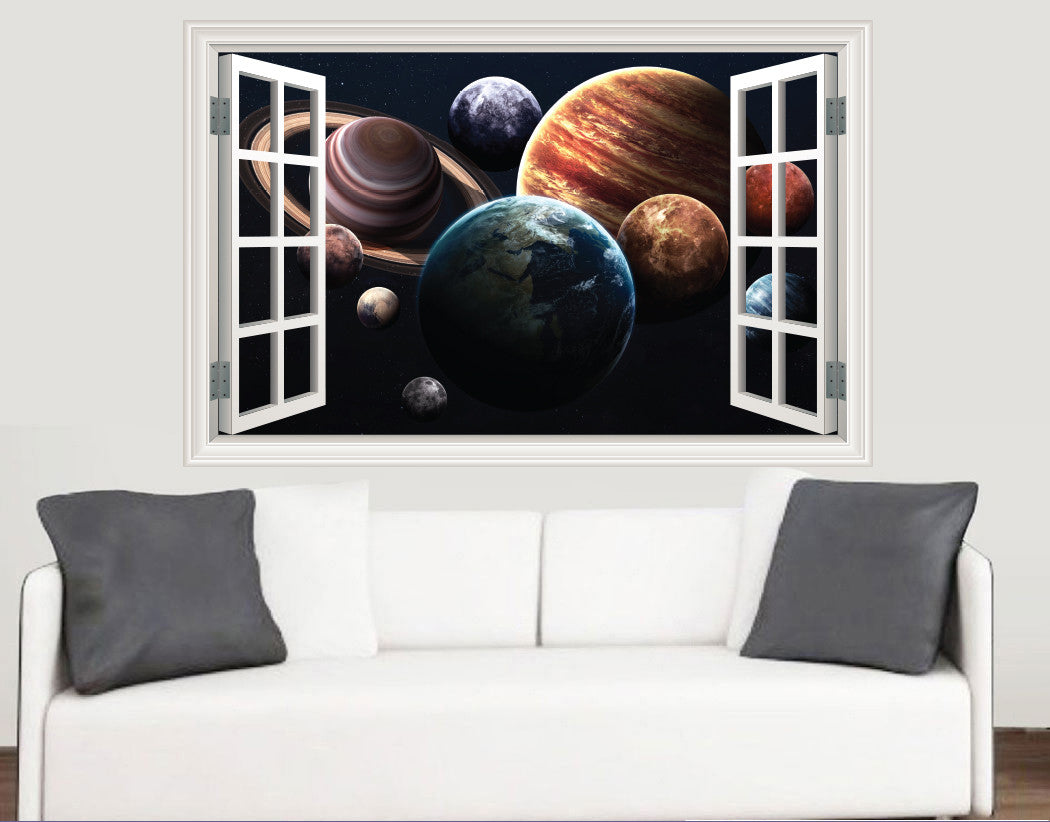 close up solar system window scene full colour wall sticker close up solar system window scene full colour wall sticker living room kitchen bedroom decal mural transfers