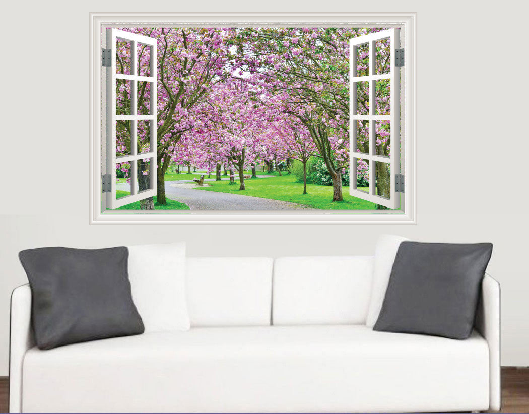 Cherry blossom trees window scene full colour wall sticker cherry blossom trees window scene full colour wall sticker living room kitchen bedroom decal mural transfers amipublicfo Image collections
