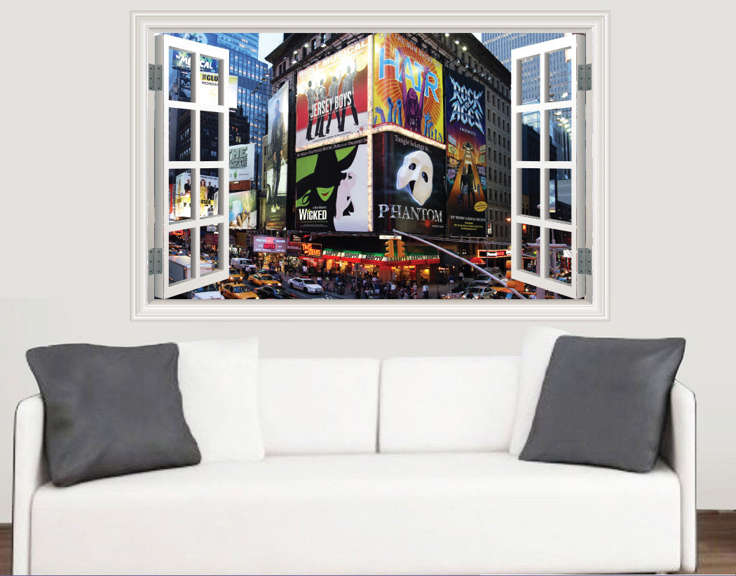Stickers On Your Wall & Broadway Theatre Window Scene Full Colour Wall Sticker - Living Room Kitchen Bedroom Decal Mural Transfers