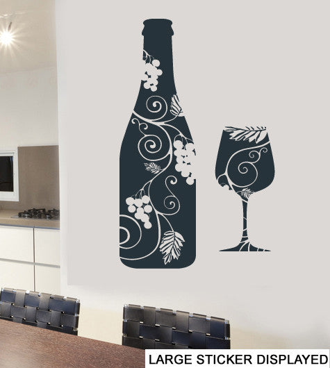 Floral Wine Bottle & Glass Design Wall Art Vinyl Stickers Flute Transfer  Mural Decal