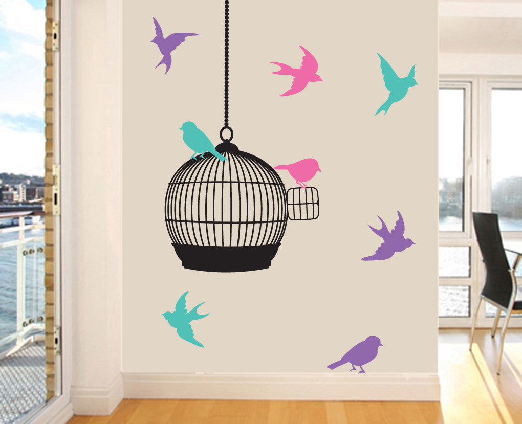 birdcage silhouette with pastel coloured birds wall art vinyl birdcage silhouette with pastel coloured birds wall art vinyl stickers 110cm x 58cm
