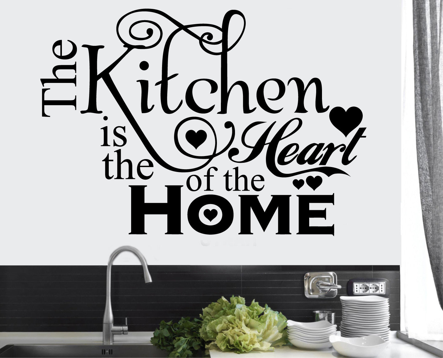 The Kitchen is the Heart of the Home Wall Art Vinyl Stickers Transfers Murals Decals