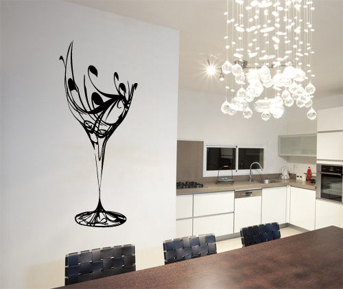 Abstract Wine Glass Silhouette Kitchen Dining Wall Art Vinyl Stickers  Transfer Decal Mural