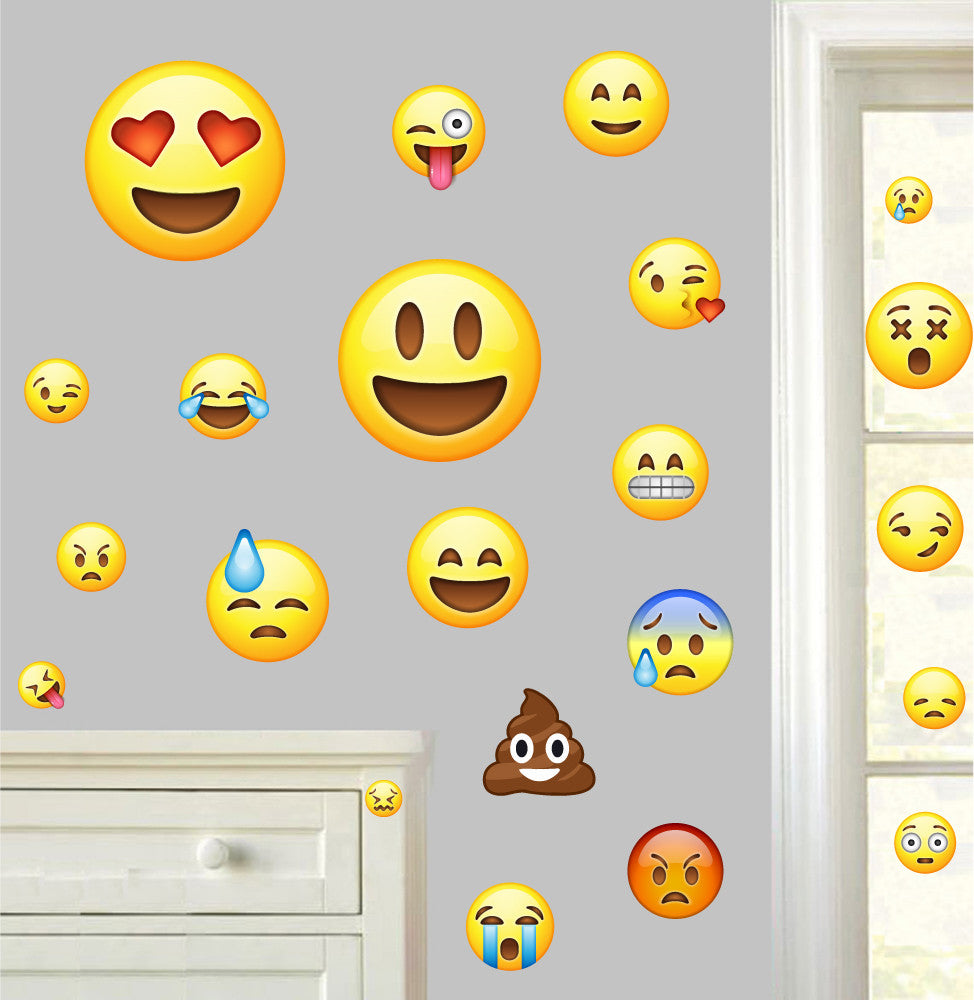 Emoji - Pack of 22 - Wall Art Vinyl Printed Stickers Emoticon Funny Faces Decals  sc 1 st  Stickers On Your Wall & Emoji - Pack of 22 - Wall Vinyl Stickers Emoticon Funny Faces Decals ...