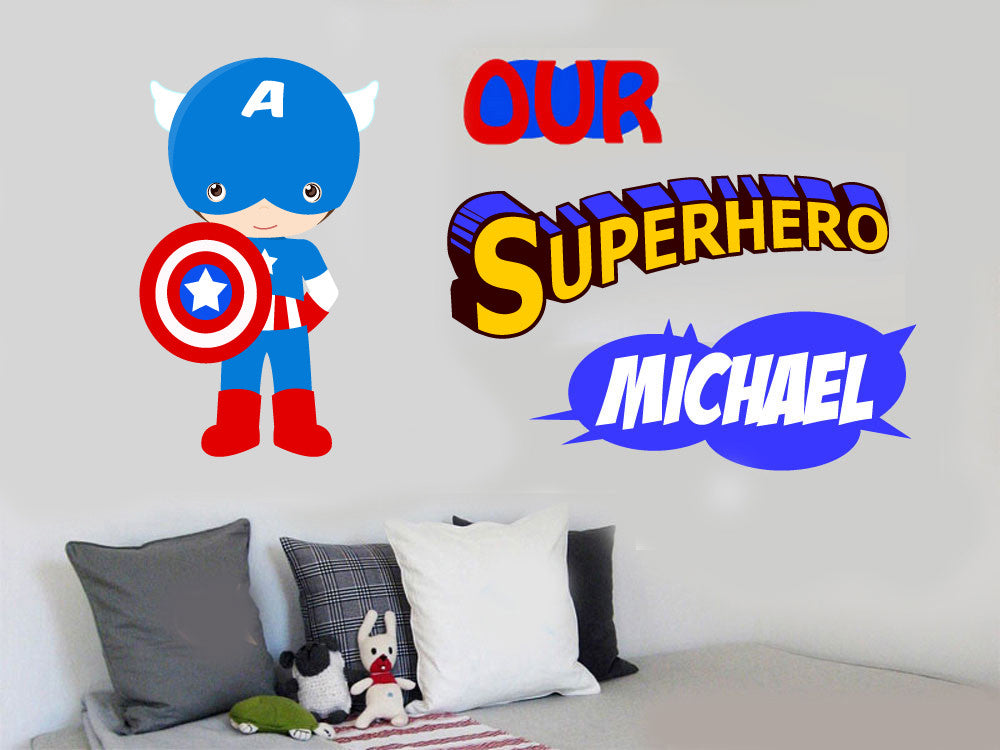 Personalised captain america wall vinyl sticker super hero superhero comic decal