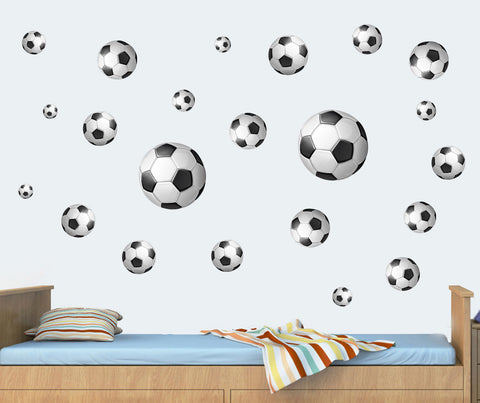 Black Footballs   Pack Of 22   Wall Art Vinyl Printed Stickers Bedroom  Decals Part 91