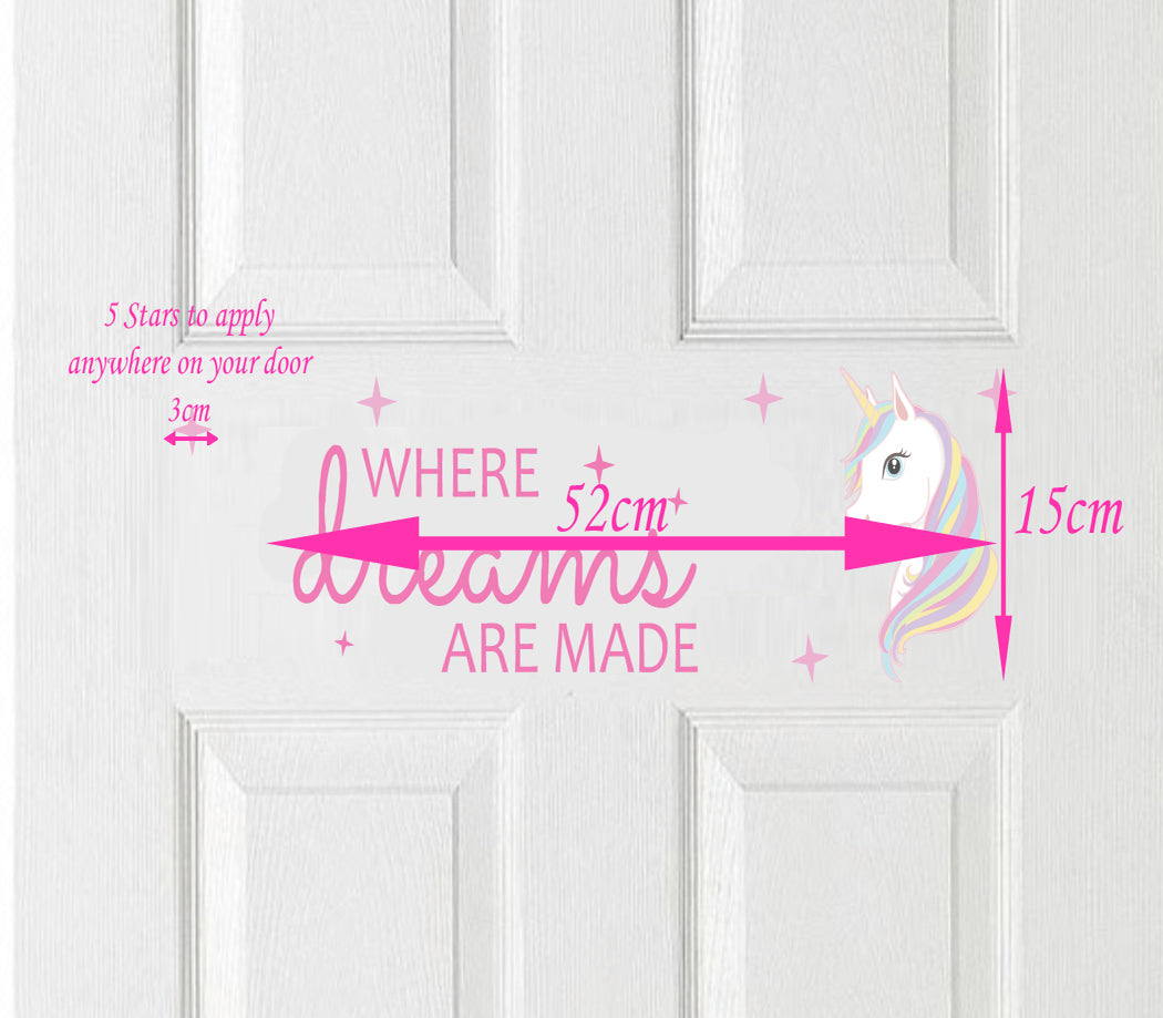 Where dreams are made quote with unicorn stars art vinyl stickers door sign