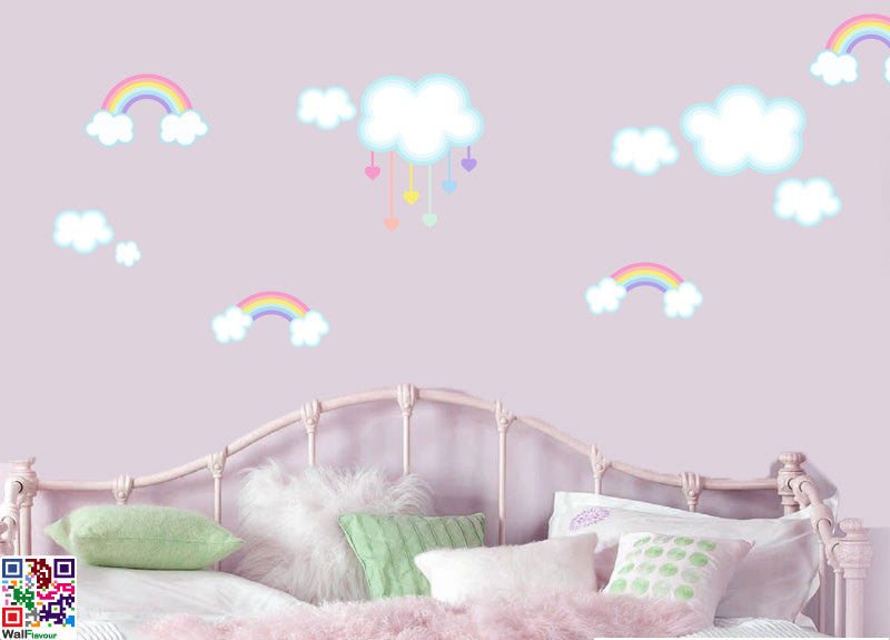 childrens rainbows and clouds multipack - pack of 14 - wall art
