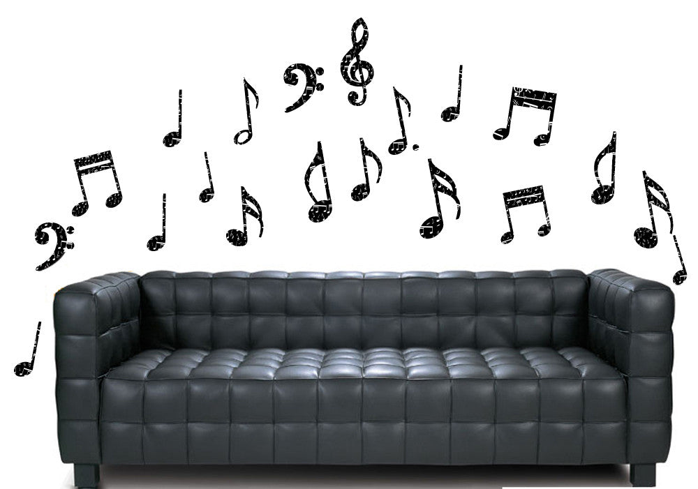 music notes - black with white note print - pack of 20