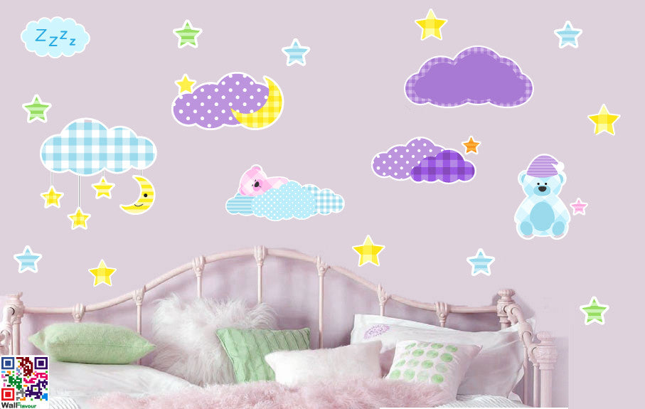 childrens teddy bears stars and clouds - pack of 20 - wall art vinyl