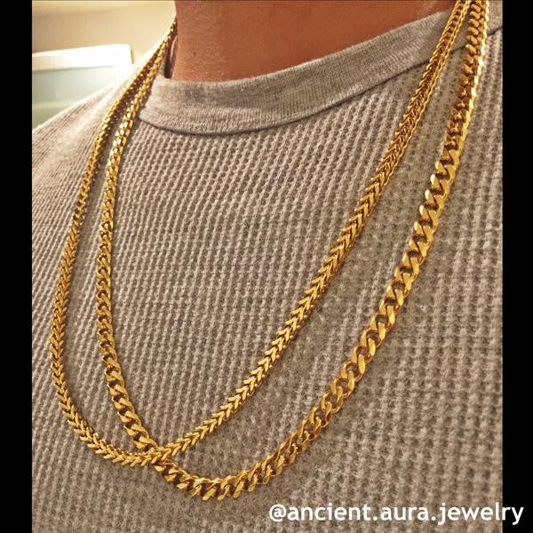 steel and curb new for item chain glod men women mens trendy color gold necklace plated chains stainless real
