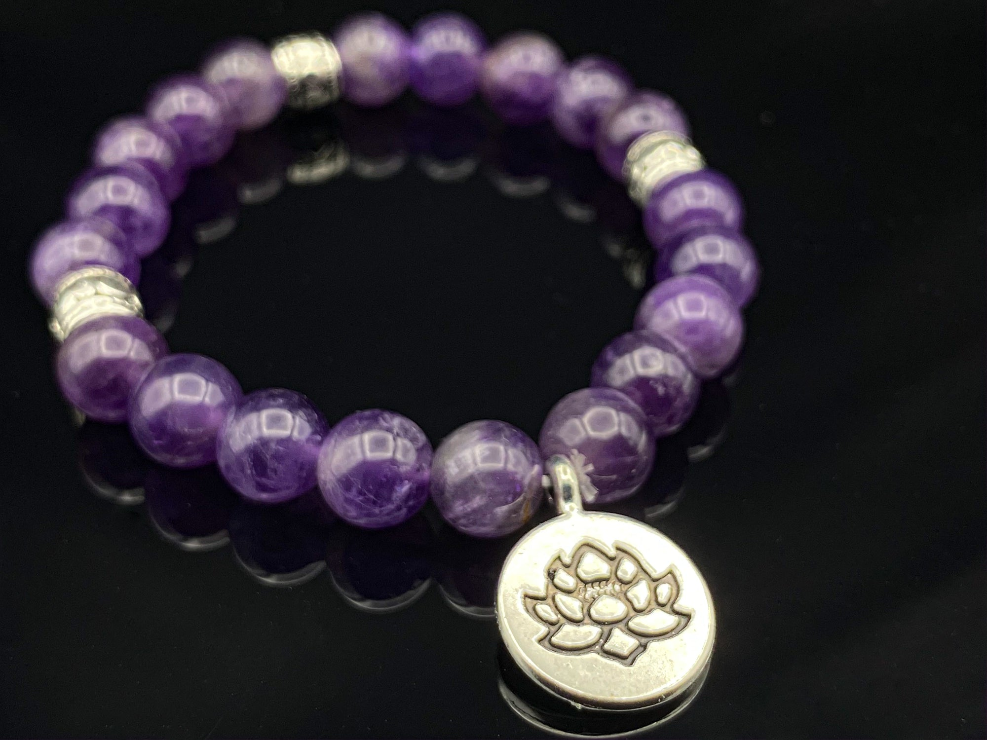 Lotus Amethyst Beaded Bracelet