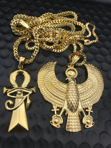 Ankh Heru Gold Chain Bundle