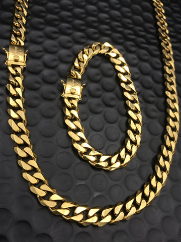 Cuban Chain & Bracelet Gold Bundle