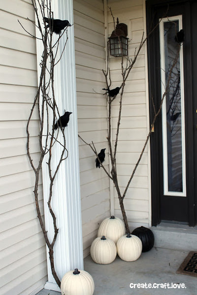 Spooky birds porch decorations; photo credit Create.Craft.Love.