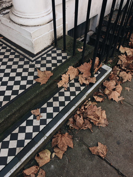 Porch with fallen leaves