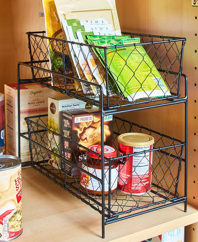 2 Tier Country Storage Basket Cabinet Pantry Counter-top Kitchen Organization