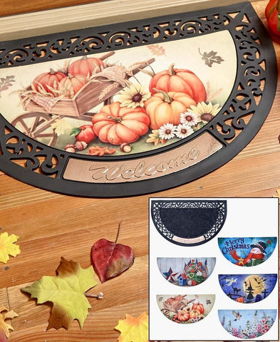 Seasonal Welcome Mat Interchangeable Seasons & Holidays Porch Door Entrance