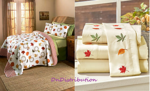 3 Piece Harvest Quilt or Sheet Set Full/Queen King Size Pumpkins Leaves Fall