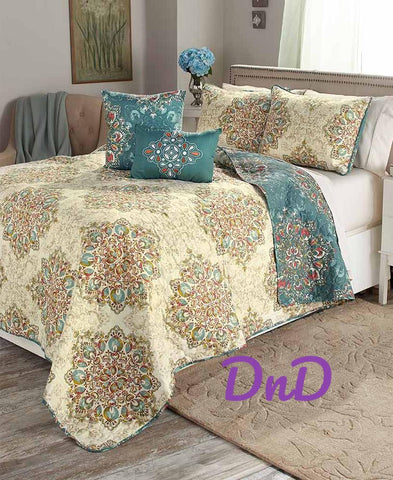 5 Pce Quilt Set Reversible Over-sized Medallion Mandala Print Tranquil Decor