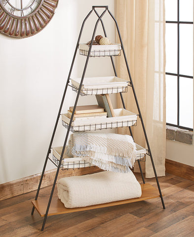 5 Tier A Frame Shelf with 4 Baskets Graduated Sizes Lightweight Sturdy Black