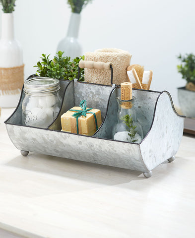 6-Section Galvanized Storage Bin Resembles Metal Chicken Feeder Bathroom Kitchen