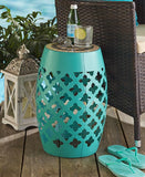 Mosaic Top Metal Accent Stool Moroccan Inspired Stand Table Tile Top Shabby Chic