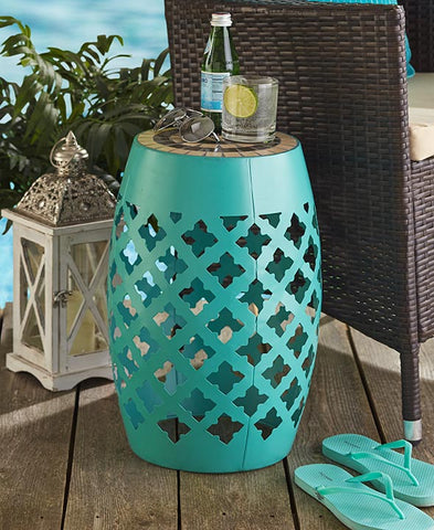 Mosaic Top Metal Accent Stool Moroccan Inspired Stand Table Tile Top