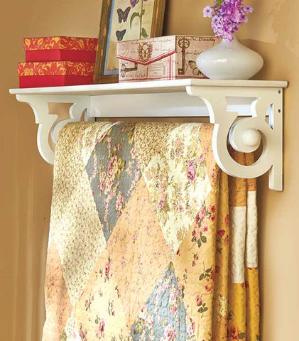 Quilt Rack With Shelf Wall Mounted Blanket Throw Hanger Country