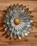 Galvanized Metal Wall Flower Anemone Daisy Aster or Water Lily Garden Yard Decor