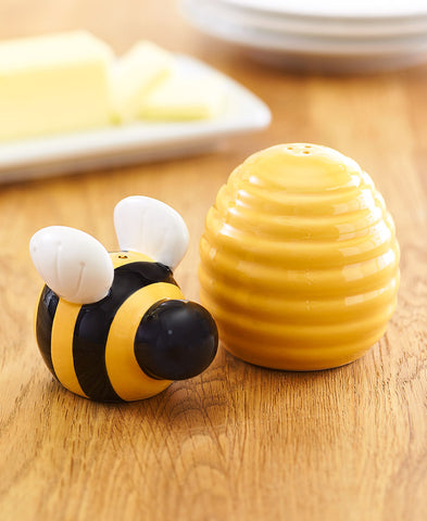 Ceramic Honey Bee Salt and Pepper Set Yellow Black & White Country Kitchen Decor