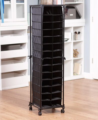 Rolling Shoe Storage Black Cubby Organizer Pair Rack Slim Tall Space Saving