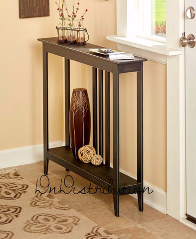 Black Narrow Slim Accent Console Table Space Saver Entry Sofa Storage Wooden