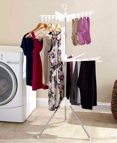Clothes Rack Laundry Hang Dry Space Saver Portable Compact Hanging Drying 2 Tier