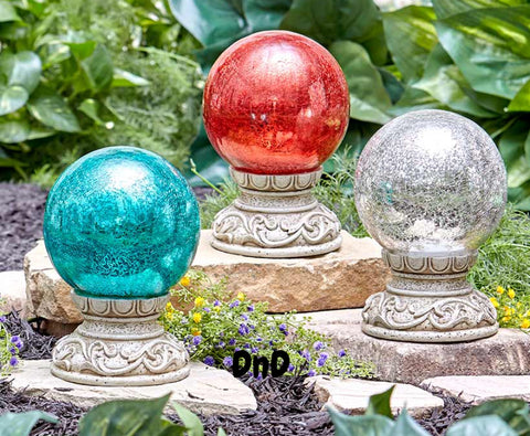 Colorful Solar Gazing Ball Crackle Glass Column Pedestal Amber Glow Garden Decor