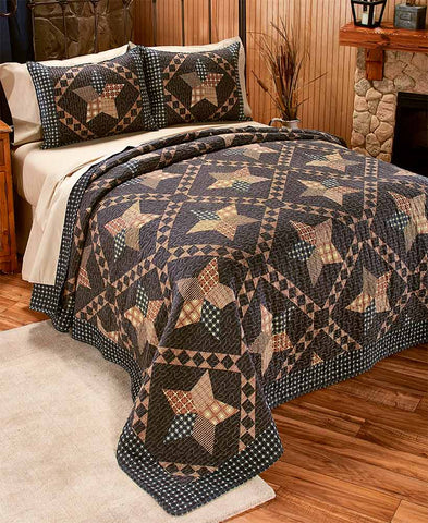 3 Pce Primitive Quilt Set Rustic Patchwork Pattern Stars Country Cabin Decor