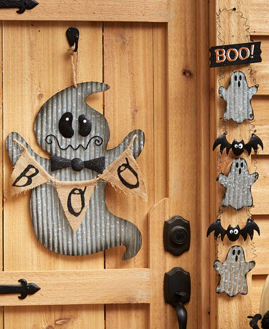 Country Ghost Halloween Decor Corrugated Metal Galvanized Look Rustic Farmhouse
