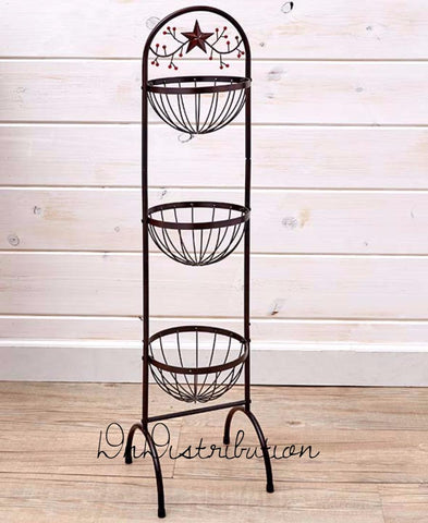 3 Basket Kitchen Organizer Free Standing Country Star & Berries Theme Rustic