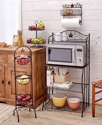 Lazy Susan 2 Tier Country Star Berries Metal Farmhouse Rustic Kitchen Decor