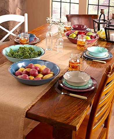 Dinnerware Set 12 Pc Rustic Country Primitive Melamine Durable Shatterproof NEW