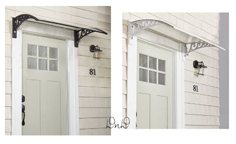"47-1/2""W x 30""D x 9""H Door Canopy Awning Weather Protection Black or White"