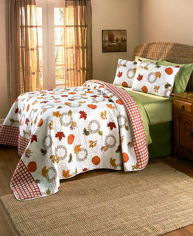 3 Piece Harvest Quilt Set Full/Queen King Size Pumpkins Leaves Fall Home Decor