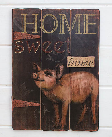 Plaques & Signs Primitive Country Wood Pig Sign Wall Hanging Sign Distressed Rustic Farmhouse