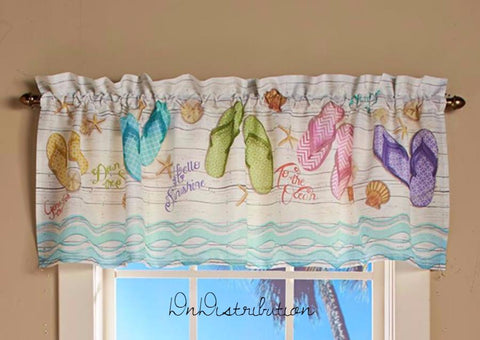 Flip Flop Bathroom Window Valance Curtain Coastal Beach Summer Themed NEW